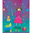 Happy Birthday of gift balloons and fairy vector image