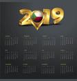 2019 calendar template comoros country map golden vector image vector image