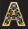 A gold letter with swirly ornaments vector image