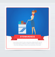 air stewardess serves food and drinks vector image vector image