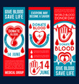blood donation banners vector image vector image