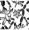 blooming cactus jumbo black and white pattern vector image vector image