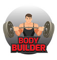 bodybuilder poster with strong man holding heavy vector image vector image