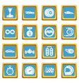 car race icons set sapphirine square vector image vector image