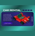 car rental banner concept web page header design vector image