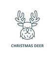 christmas deer line icon christmas deer vector image vector image