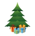 christmas tree and gifts icon vector image