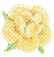 cross stitch yellow rose vector image vector image