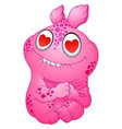 cute pink monster fall in love vector image vector image