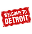 Detroit red square grunge welcome to stamp vector image vector image