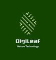 digital leaf nature technology logo vector image