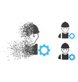 dispersed dotted halftone repairman icon with face vector image vector image