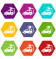 electric car icons set 9 vector image vector image