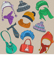 et hipster winter warm knitted hats and scarves vector image vector image