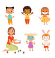 face painting kids makeup funny animals cartoon vector image vector image