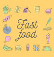 fast food icons design set vector image