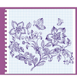 floral pattern ink vector image vector image