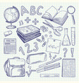 freehand drawing school items on a sheet of vector image vector image