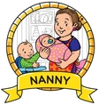 Funny mother or nanny with children Emblem vector image vector image
