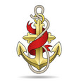 golden anchor with ribbon colorful vector image vector image