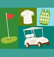 golf icons hobcar equipment cart player golfing vector image