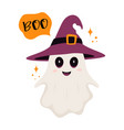 halloween card with cute ghost in witch hat vector image