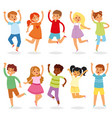 jumping kids yong child character in jump vector image vector image