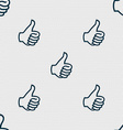 Like sign icon Thumb up symbol Hand finger-up vector image vector image