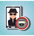 man smartphone detective secure vector image