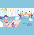 open space office flat ad banner template vector image