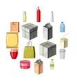 package container icons set cartoon style vector image vector image