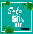 sale special offer 50 off green background vector image vector image