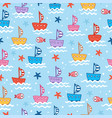seamless with cute children boats vector image vector image
