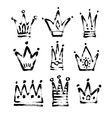 set of 9 black and white sketch drawing princess vector image