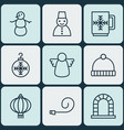 set of 9 holiday icons includes knitted cap vector image vector image