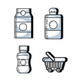 set supermarket variety food nutrition to shopping vector image