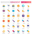 Set trendy flat gradient fast food icons