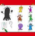 shadows game with cartoon alien characters vector image vector image