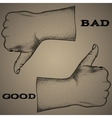 sign-bad or good hand drawing offset vector image