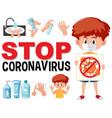 stop coronavirus with boy holding coronavirus vector image vector image