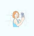 technology selfie lifestyle social media vector image vector image