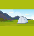 tent camping area campsite near river summer camp vector image vector image