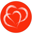 two heart shapes with brush painting on red circle vector image