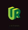 ur logo letters green emblem vector image
