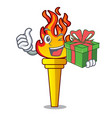 with gift torch mascot cartoon style vector image vector image