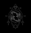 zodiac pisces geometri style vector image