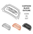 theatre ticket icon in cartoon style isolated on vector image