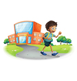A boy going home from school vector | Price: 1 Credit (USD $1)
