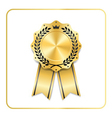 Award ribbon gold icon laurel wreath crown vector image vector image