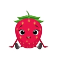 Big Eyed Cute Girly Strawberry Character Sitting vector image vector image